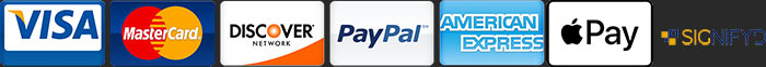 Accepting Major Credit Cards, Paypal and Apple Pay