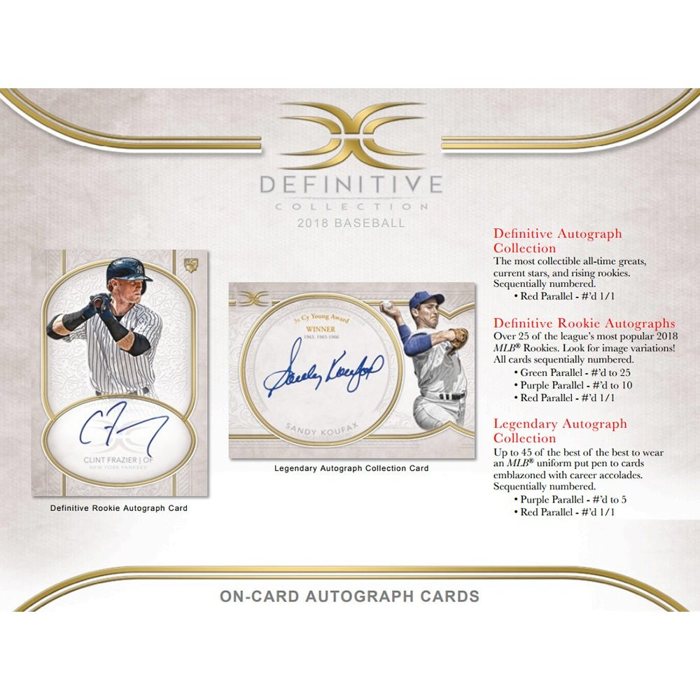 2018 Topps Definitive Baseball Hobby Box