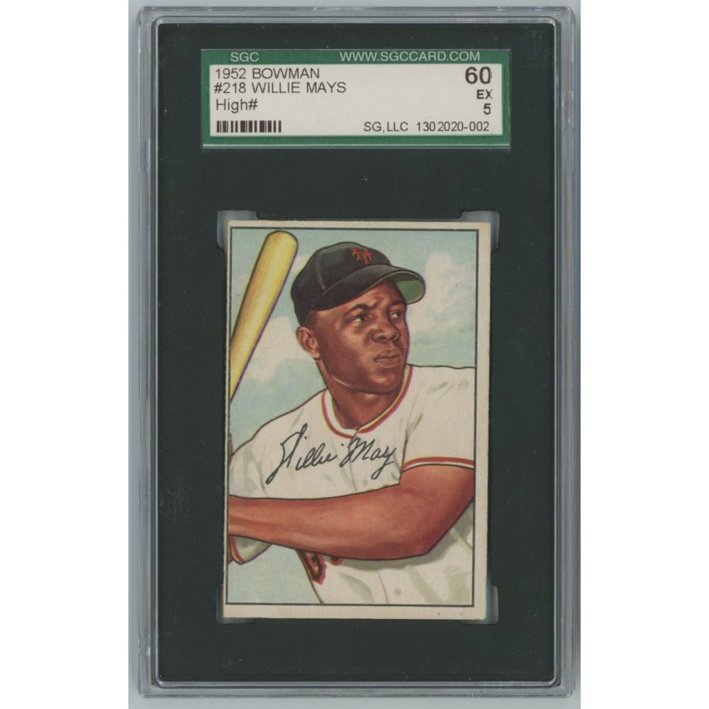 Willie Mays 1952 Bowman Baseball Card 218 Sgc Graded 60 Ex