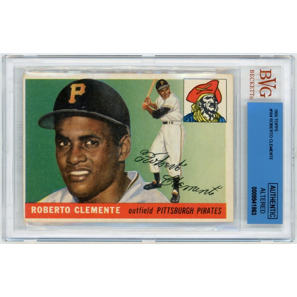 Roberto Clemente 1955 Topps Baseball Rookie Card 164 Beckett Authentic Altered