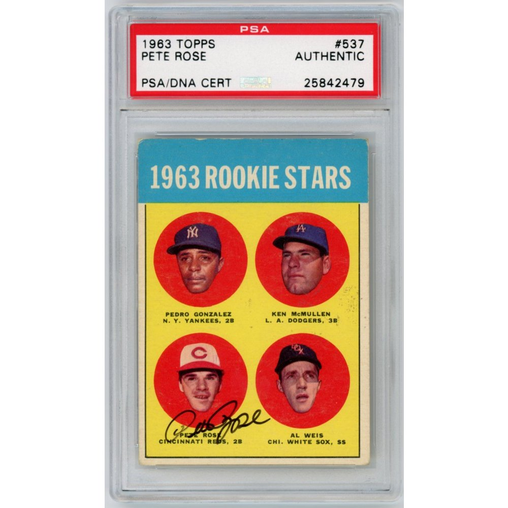 Pete Rose 1963 Topps Baseball Autograph Auto Rookie Card 537 Psa Authentic