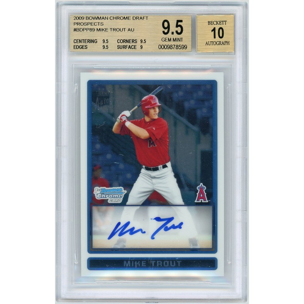 Mike Trout 2009 Bowman Draft Chrome Rookie Auto Rc Card Bgs