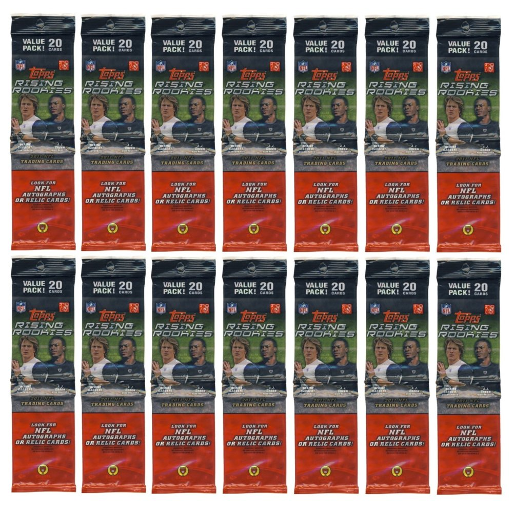 2011 topps rising rookies football rack pack 14 pack lot. Black Bedroom Furniture Sets. Home Design Ideas