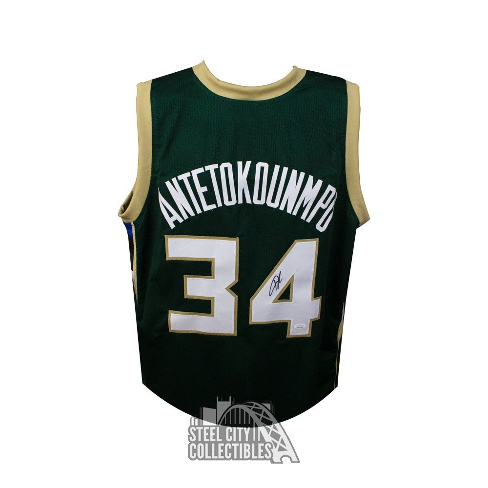 buy online 64a04 20170 Giannis Antetokounmpo Autographed Milwaukee Bucks Custom Green Basketball  Jersey - JSA COA