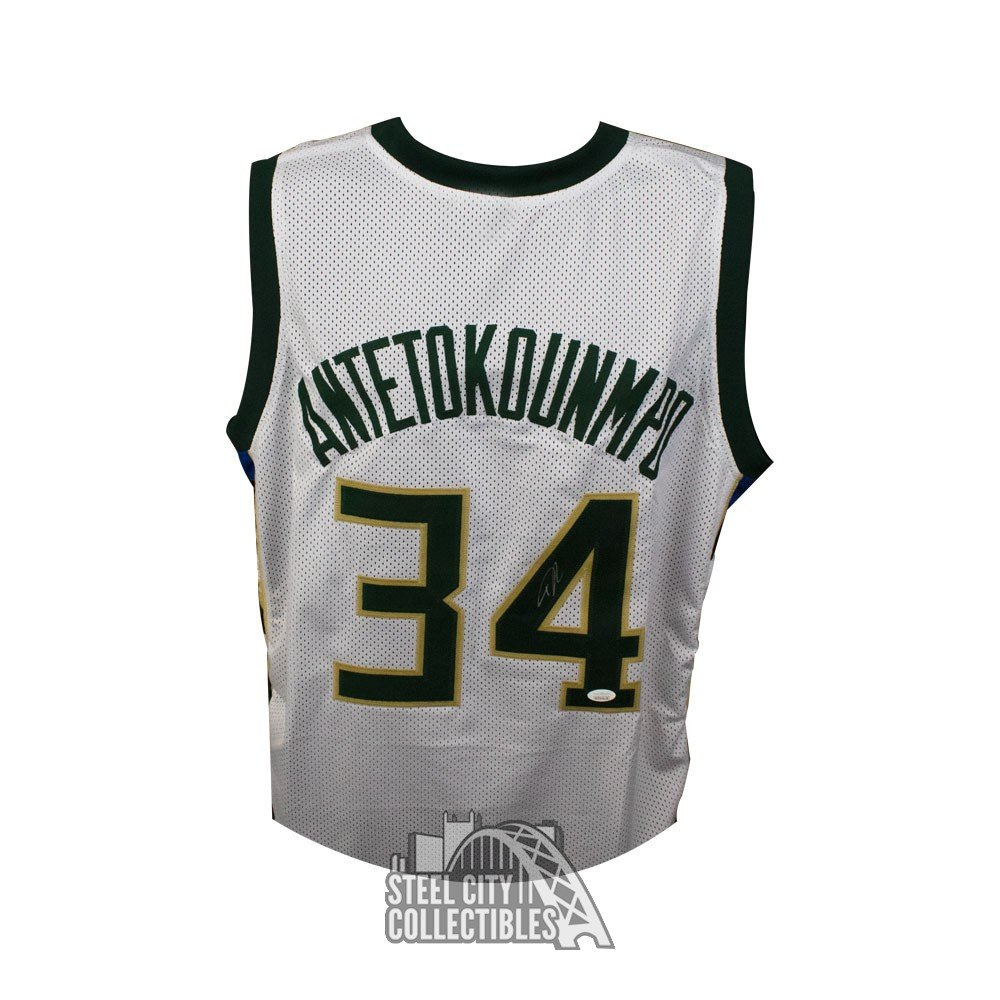newest ea2d3 5131b Giannis Antetokounmpo Autographed Milwaukee Bucks Custom White Basketball  Jersey - JSA COA