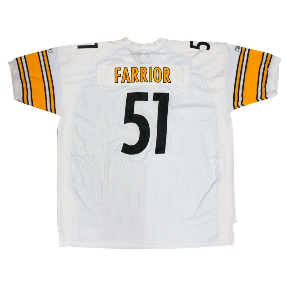 sports shoes 89471 ba703 James Farrior Pittsburgh Steelers Reebok NFL Away White On Field Authentic  Jersey