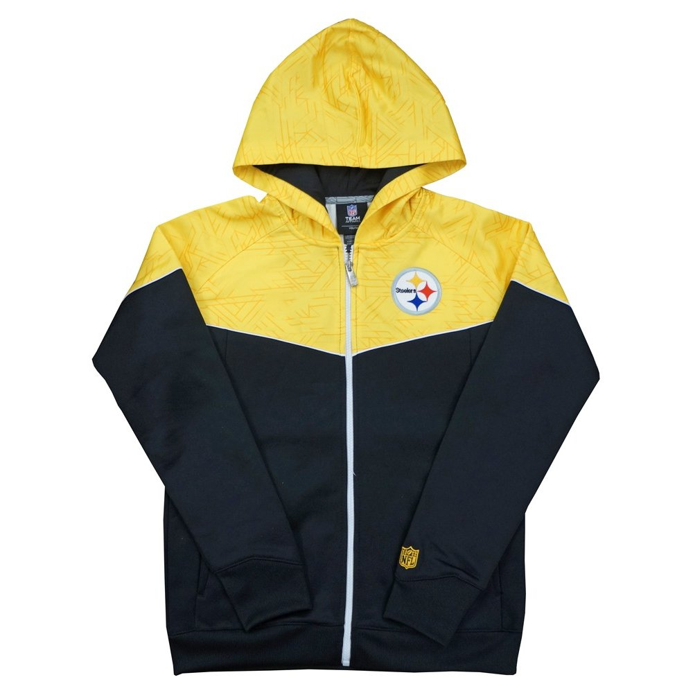 new style 062f9 49f39 Pittsburgh Steelers NFL Youth Break Point Black/Gold Full-Zip Hooded  Sweatshirt