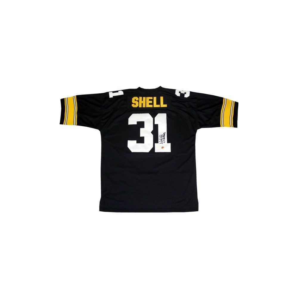64adc119b9d Donnie Shell Autographed Pittsburgh Steelers Home Black Mitchell & Ness  Jersey - TSE COA