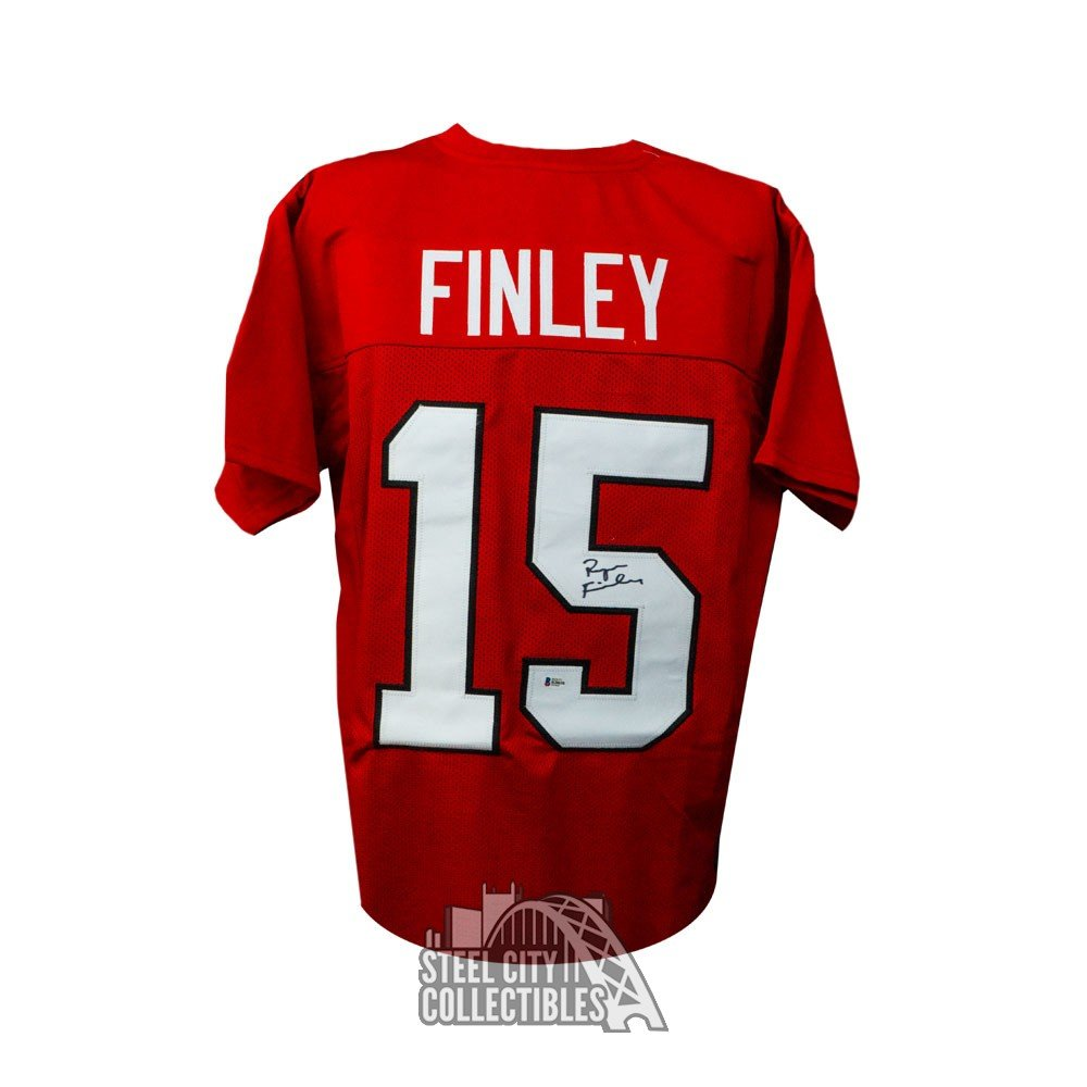 new product 6aa75 5484d Ryan Finley Autographed NC State Custom Red Football Jersey - BAS COA