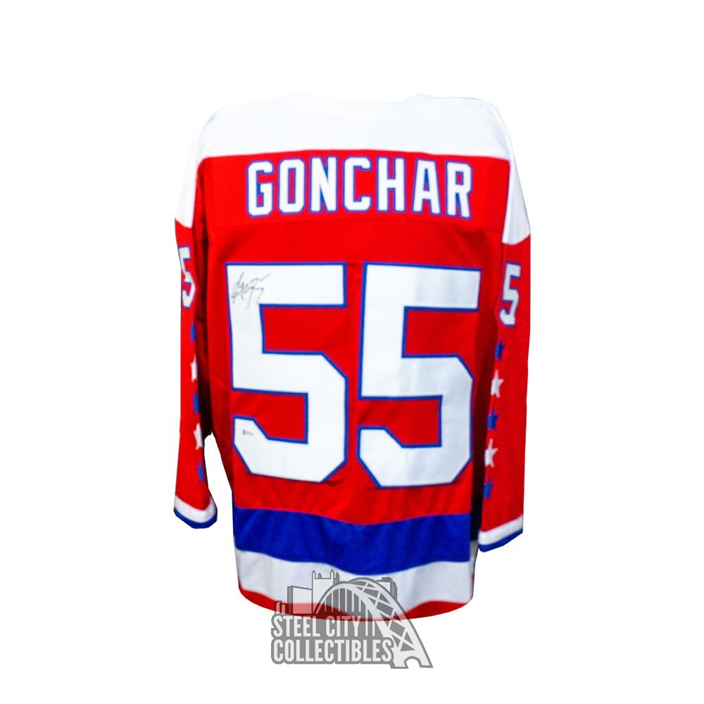 new style 880e0 86fae Sergei Gonchar Autographed Washington Capitals Custom Red Jersey - BAS COA