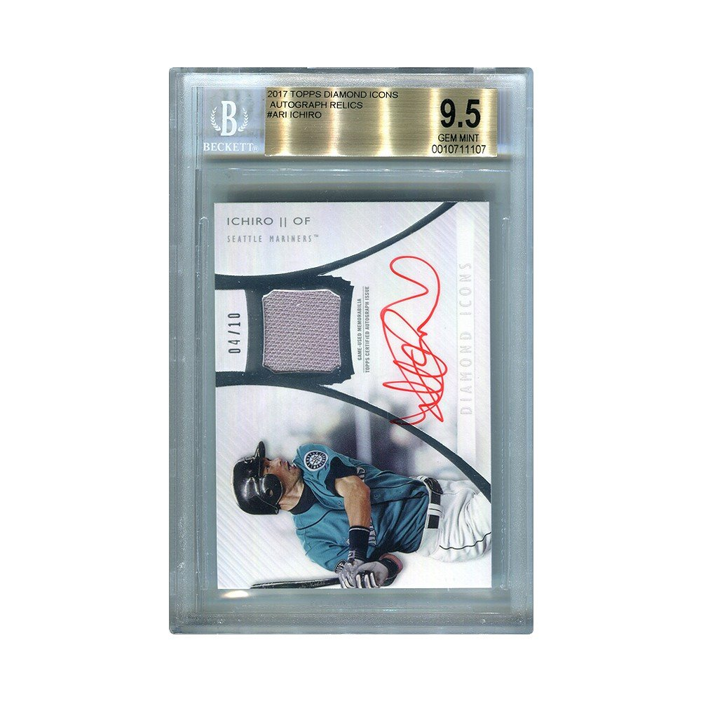 Ichiro 2017 Topps Diamond Icons Autographed Relic Jersey Card 0410 Bgs 95