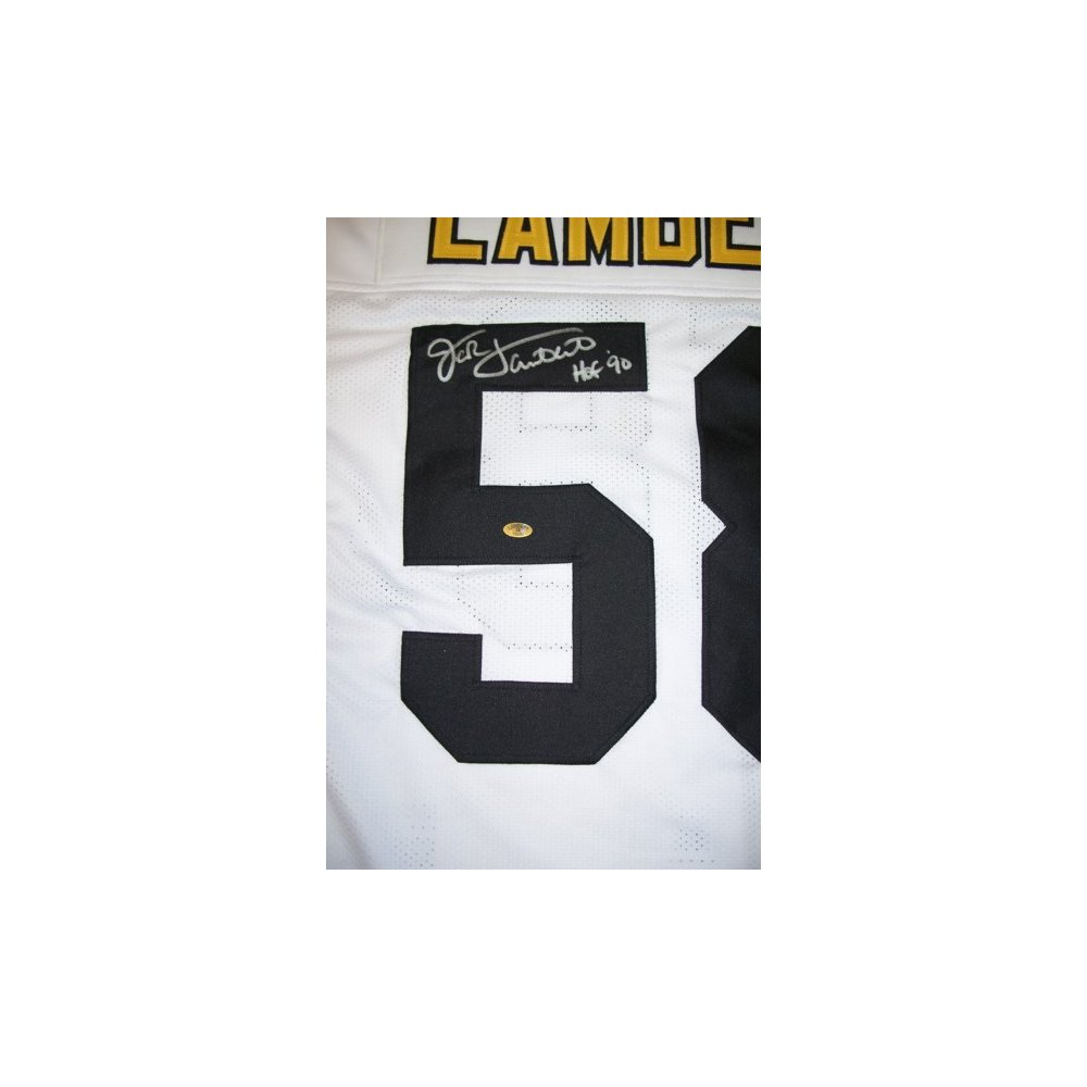 promo code 0b265 55d11 Jack Lambert Autographed Pittsburgh Steelers Away White ...