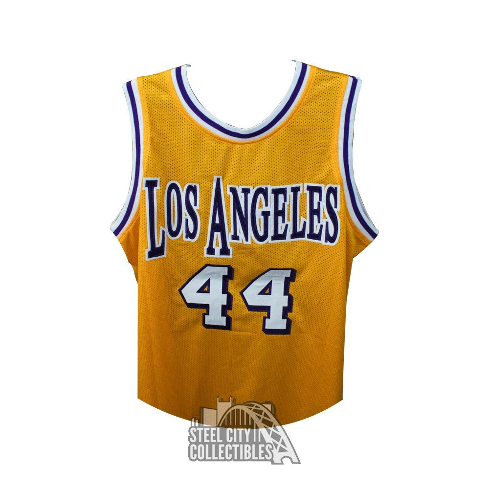 detailed look f5703 76c86 Jerry West Autographed Los Angeles Lakers Custom Gold Basketball Jersey -  JSA COA (C)