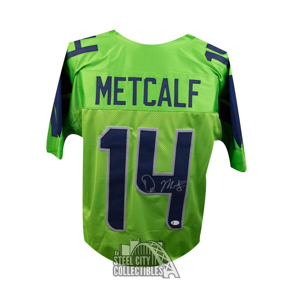 D K Metcalf Autographed Seattle Seahawks Custom Green Football Jersey Bas Coa Steel City Collectibles