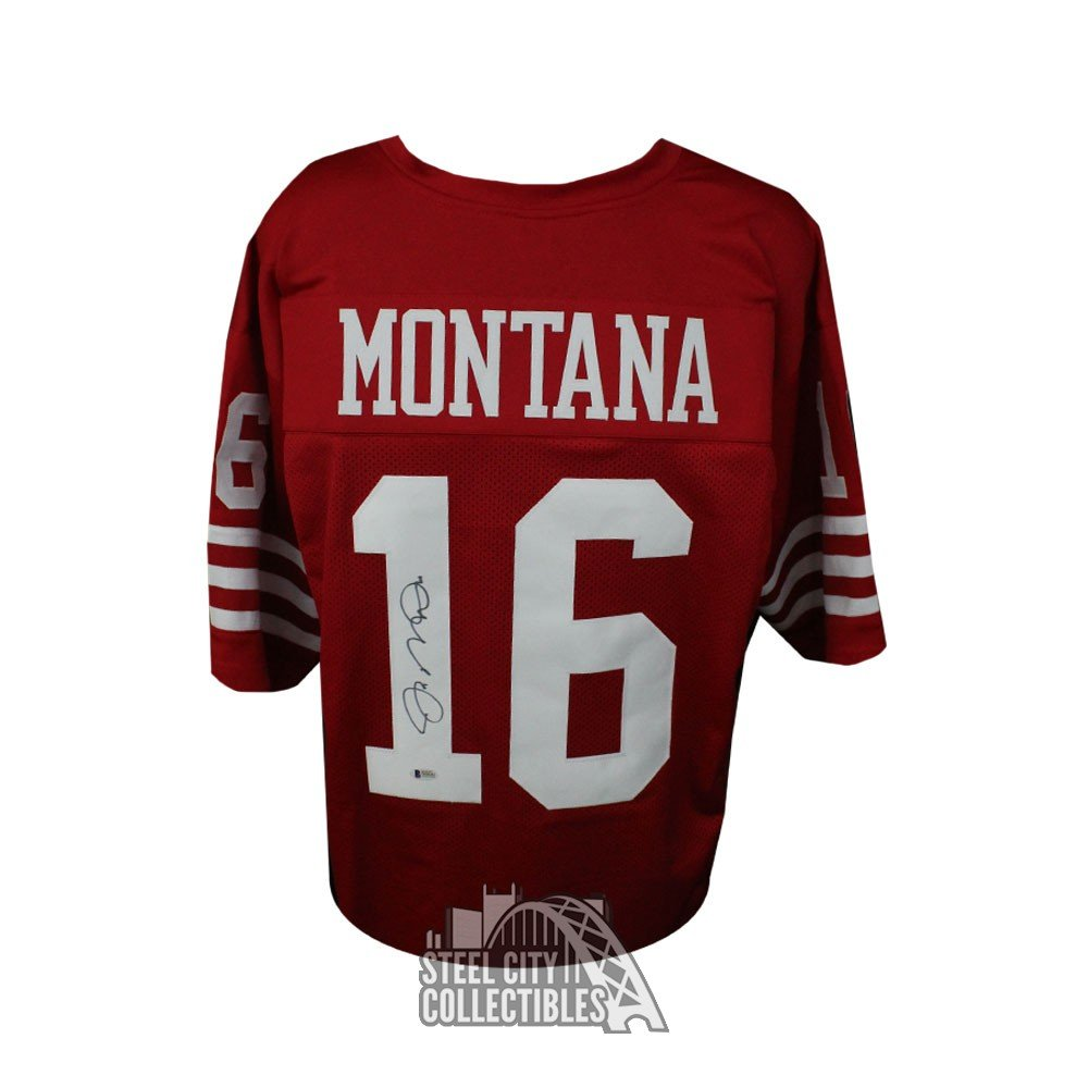 watch 6b4e9 06e87 Joe Montana Autographed San Francisco 49ers Custom Red Football Jersey -  BAS COA