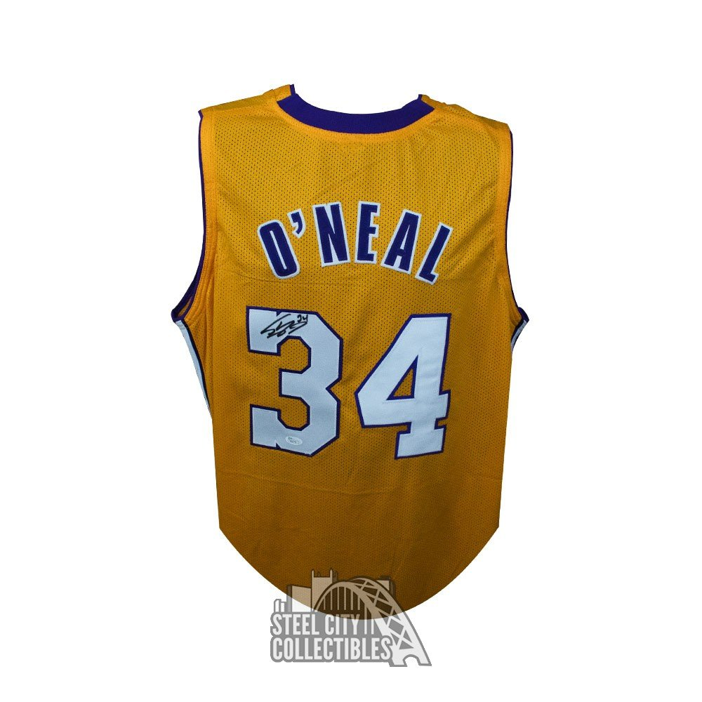 sports shoes 0f4f9 8902a Shaquille O'Neal Autographed Los Angeles Lakers Custom Gold Basketball  Jersey - JSA COA