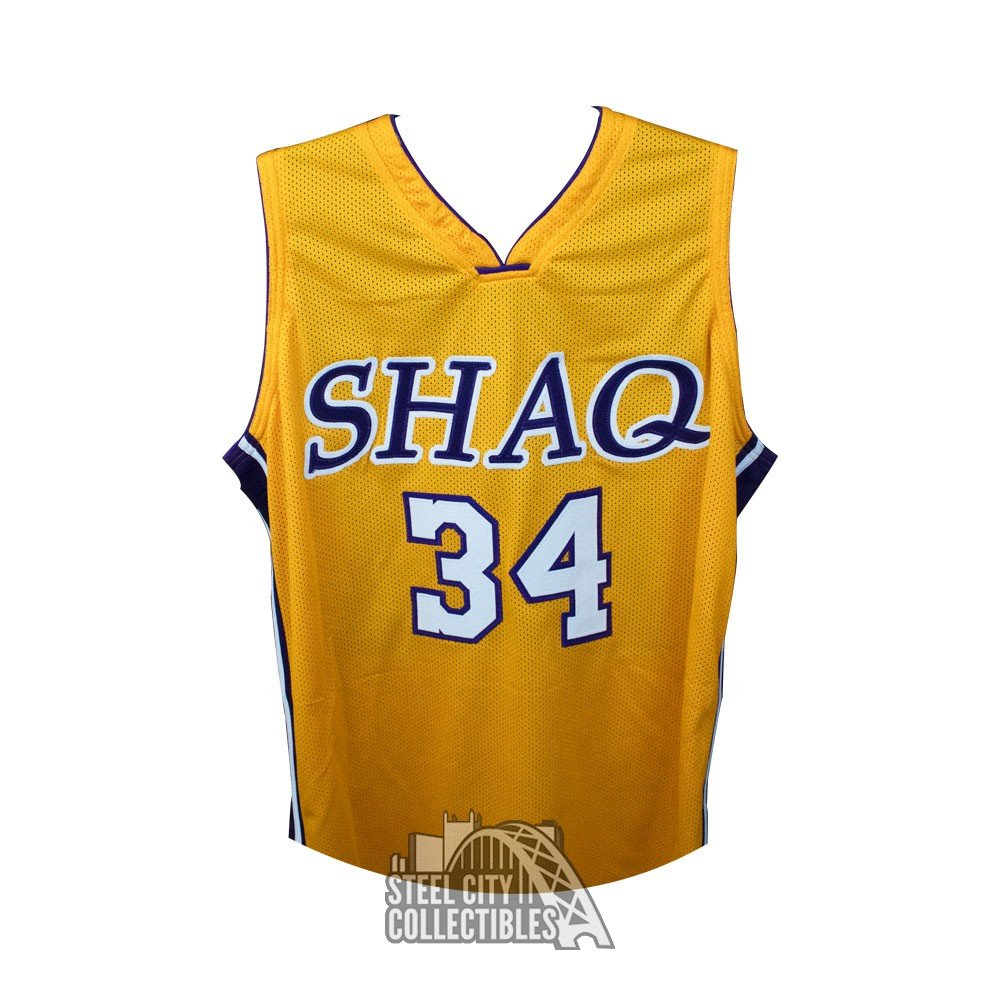 hot sale online 759d1 04bca Shaquille O'Neal Autographed Los Angeles Lakers Gold Custom Shaq Basketball  Jersey - JSA COA