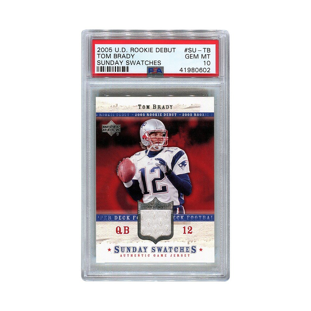 on sale 1759e 8aa64 Tom Brady 2005 UD Rookie Debut Sunday Swatches Game-Used Jersey PSA 10 Gem  Mint