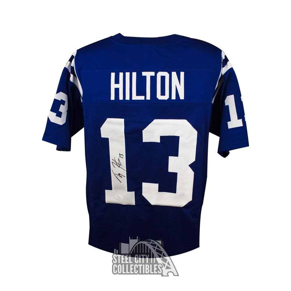 differently d20f3 e6c35 T.Y. Hilton Autographed Indianapolis Colts Custom Blue Football Jersey -  JSA COA (Black Ink)