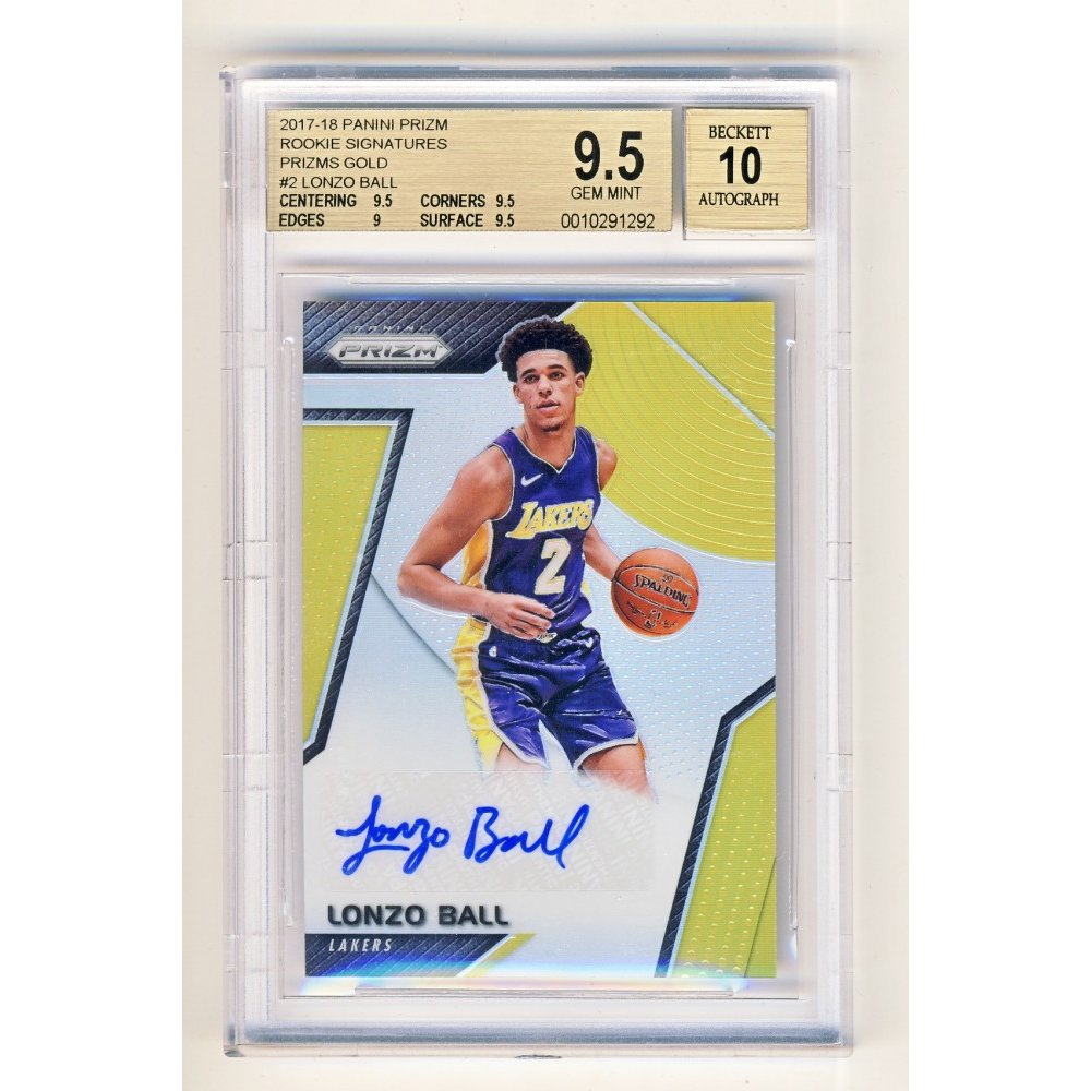 c0d41821d Lonzo Ball 2017-18 Panini Prizm Gold Parallel Rookie Signatures Auto RC  08 10 - BGS 9.5