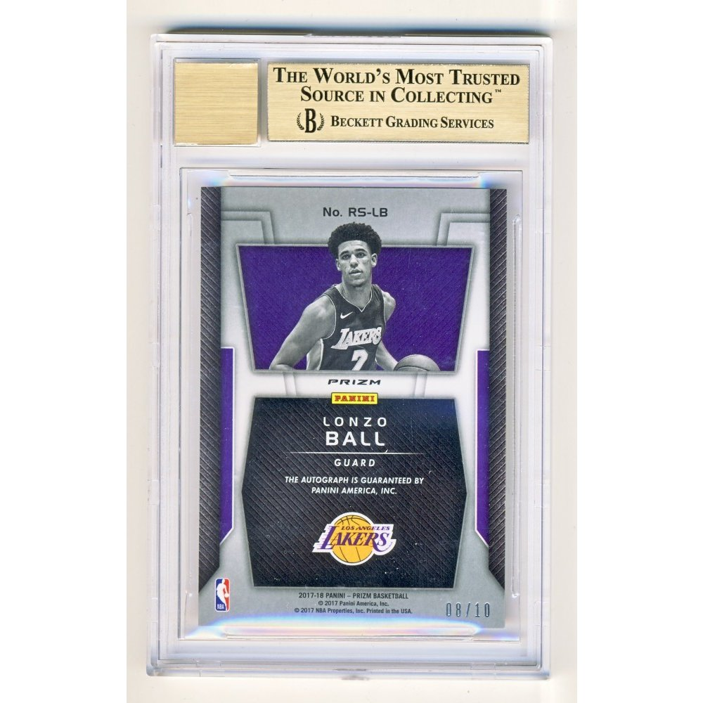 76122920a Lonzo Ball 2017-18 Panini Prizm Gold Parallel Rookie Signatures Auto RC  08 10