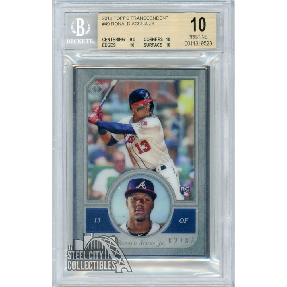 Ronald Acuna Jr 2018 Topps Transcendent Baseball Icons Rookie Rc 283 Bgs 10 Pop 1
