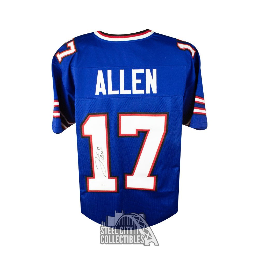 new concept 1f248 ff678 Josh Allen Autographed Buffalo Bills Custom Blue Football Jersey - JSA COA  (B)