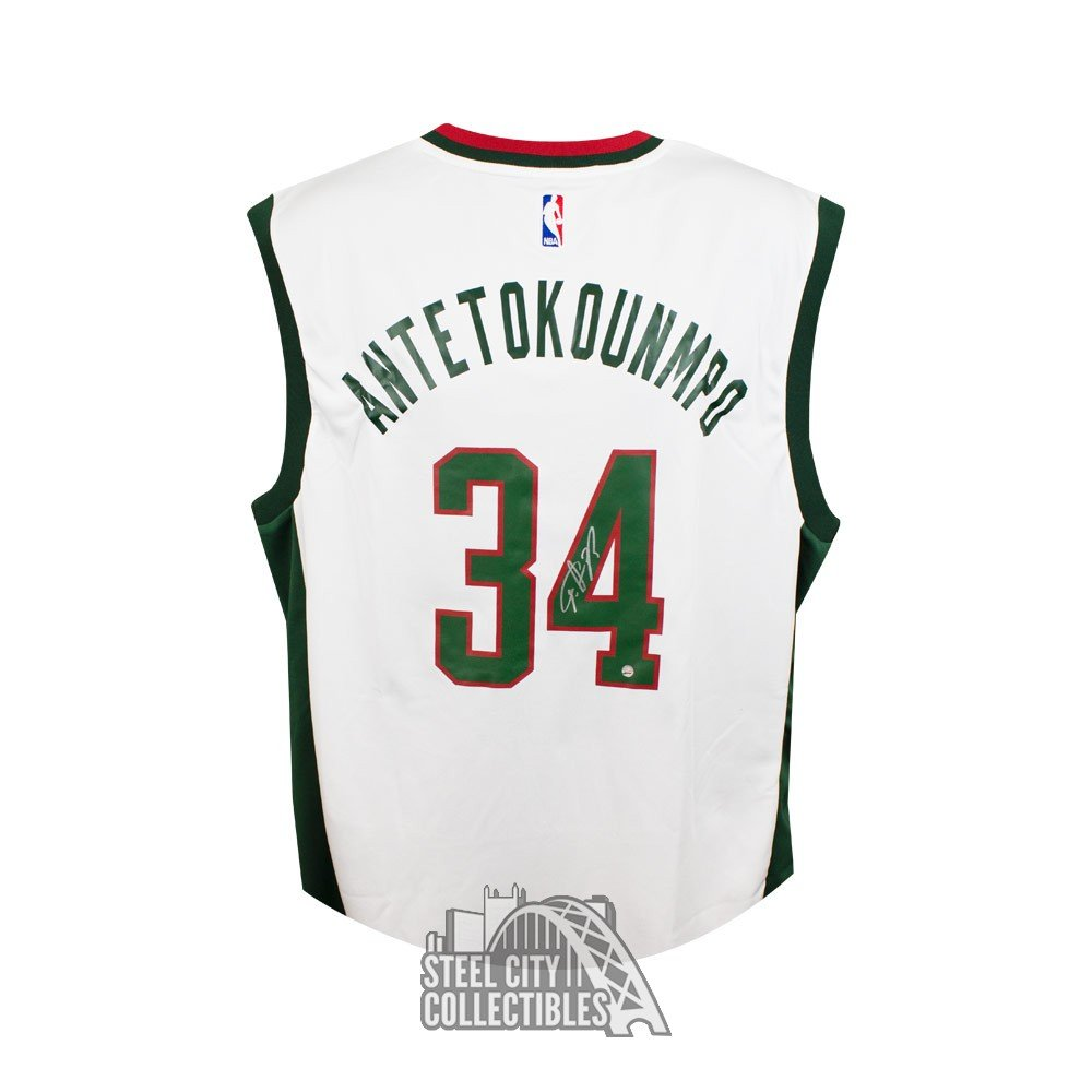 newest 80b79 a4f86 Giannis Antetokounmpo Autographed Milwaukee Bucks Authentic White  Basketball Jersey - Steiner