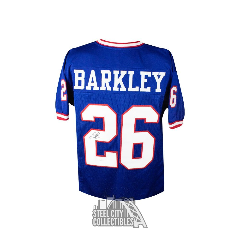 best sneakers 2fde5 fdd1e Saquon Barkley Autographed New York Giants Custom Football Jersey - JSA COA  (B)