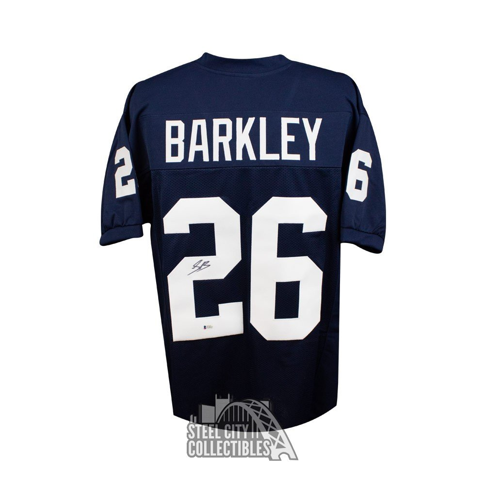 more photos 77b07 381cb Saquon Barkley Autographed Penn State Custom Blue Football Jersey - BAS COA