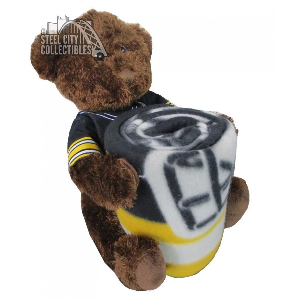 Pittsburgh Steelers Nfl Bear Mascot Pillow Fleece Throw Blanket Combo Steel City Collectibles