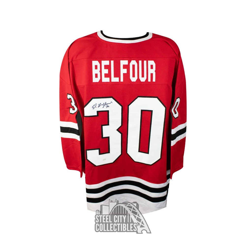 premium selection 00807 dbcdc Ed Belfour Autographed Chicago Blackhawks Custom Red Hockey Jersey - JSA COA