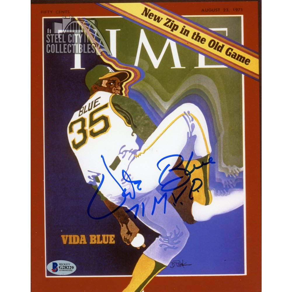 Vida Blue 1971 MVP Autographed Time Magazine Cover 8x10 Photo Autographs and Signed Memorabilia