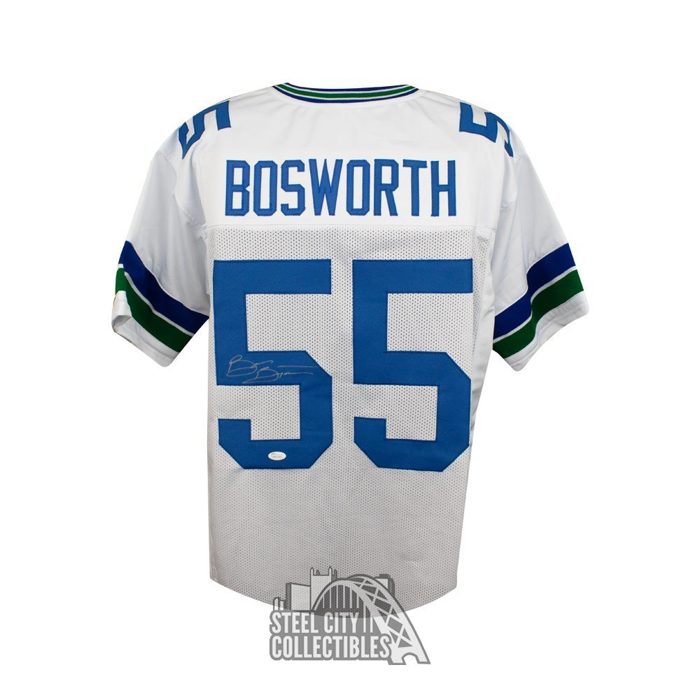 size 40 3b8c4 c04fc Brian Bosworth Autographed Seattle Seahawks Custom White Football Jersey  JSA COA