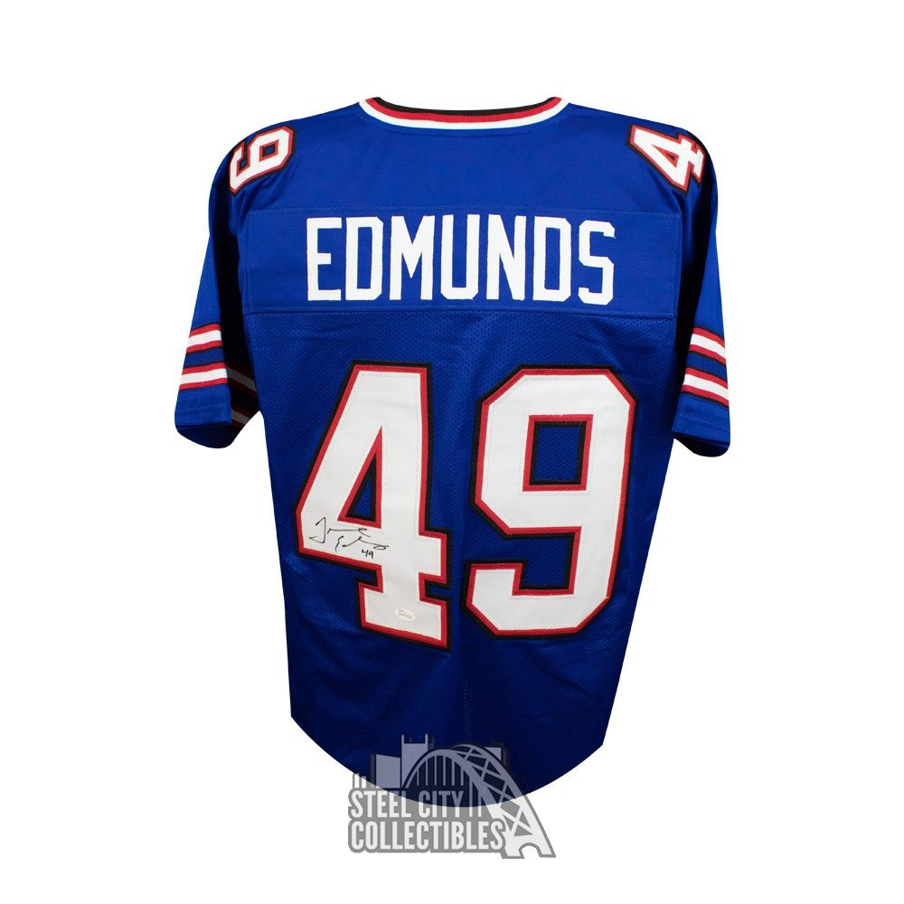 lowest price 5a9c5 84ce1 Tremaine Edmunds Autographed Buffalo Bills Custom Blue Football Jersey -  JSA COA