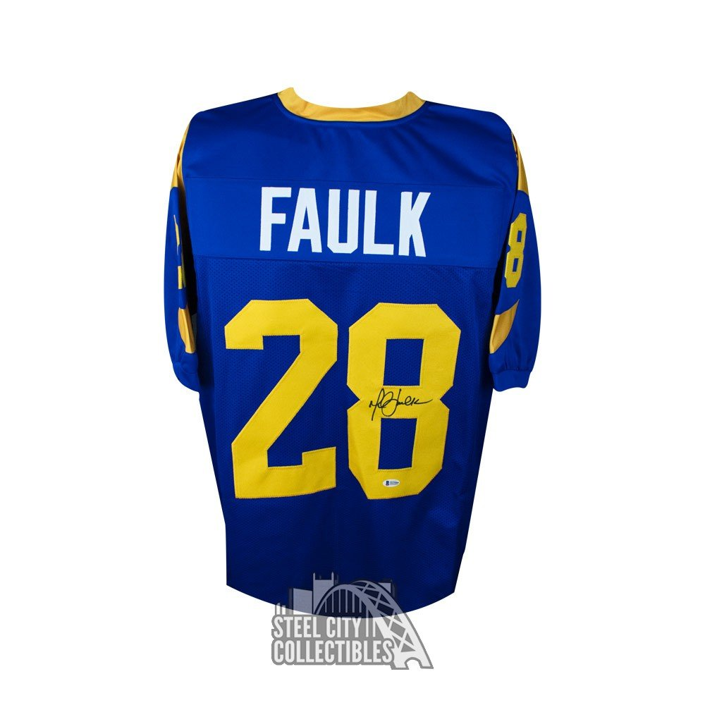 classic fit cc19a 66b49 Marshall Faulk Autographed St Louis Rams Custom Blue Football Jersey - BAS  COA