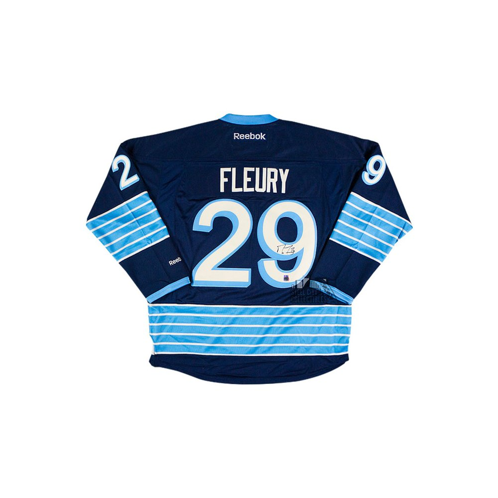 new style 1a8c6 fdecf Marc-Andre Fleury Autographed Pittsburgh Penguins Navy Blue ...