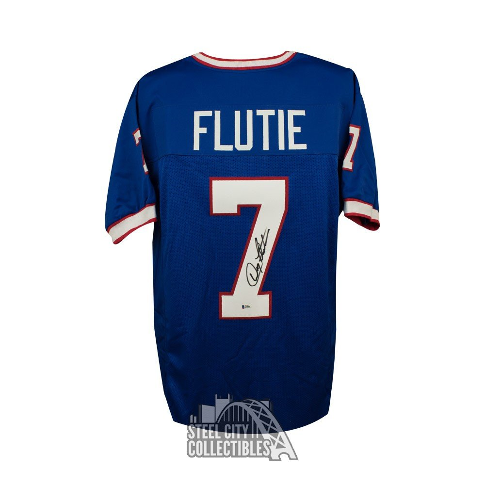 75dcf26d072 Doug Flutie Autographed Buffalo Bills Custom Blue Football Jersey - BAS COA  | Steel City Collectibles