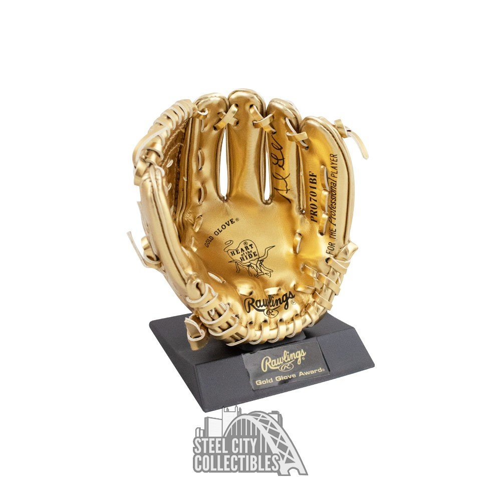 Adrian Gonzalez Autographed Mini Gold Glove Trophy Autographs and Signed Memorabilia