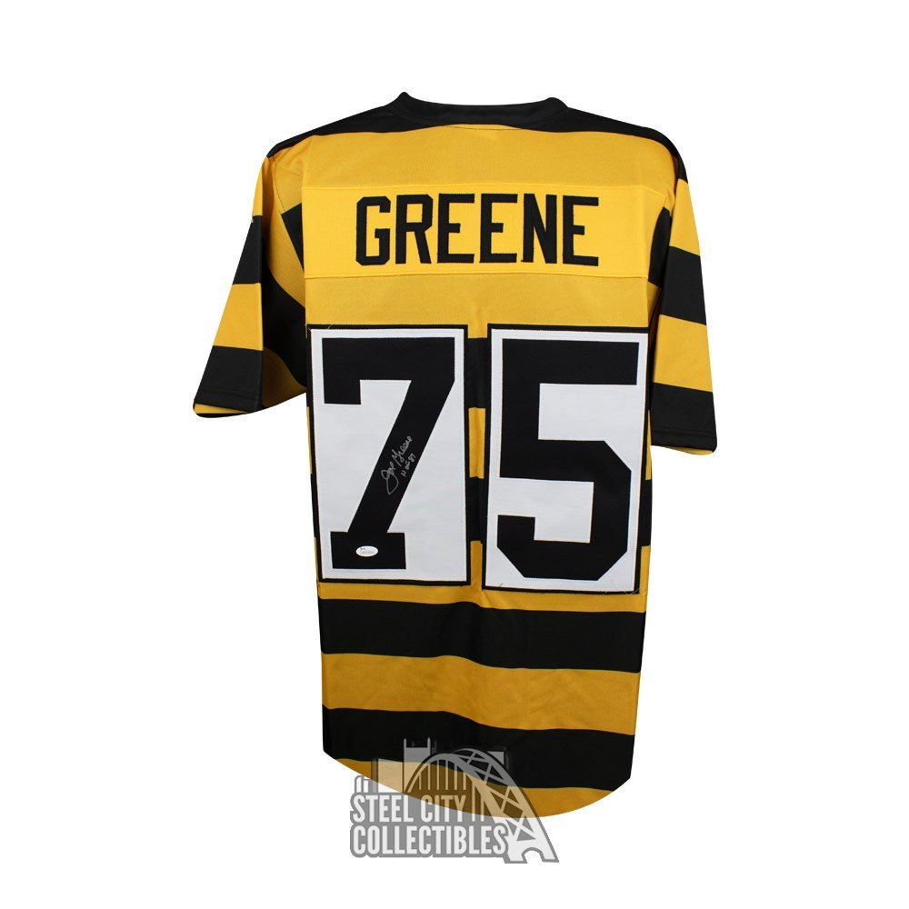 aa45539d6 Joe Greene HOF Autographed Steelers Custom Bumblebee Football Jersey - JSA  COA