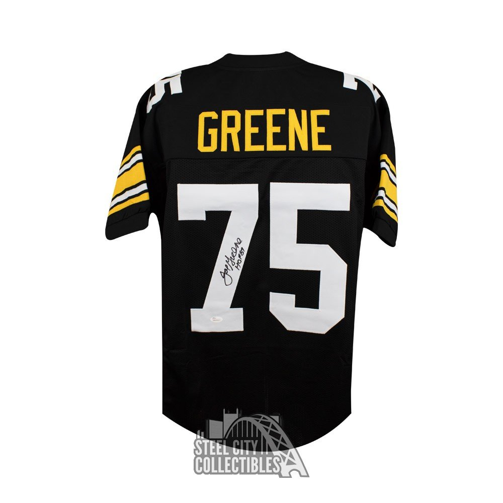 99d79100e Joe Greene HOF Autographed Steelers Custom Black Football Jersey - JSA COA