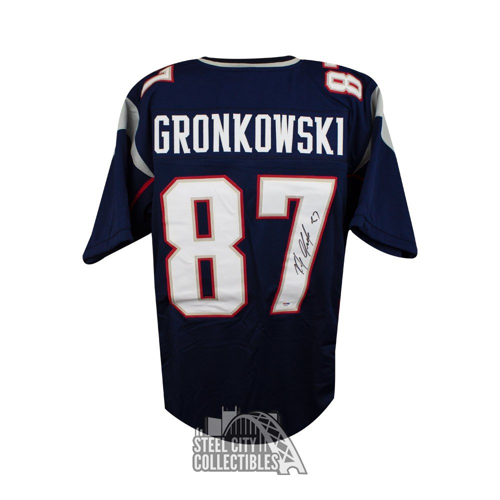 brand new 49c25 2bed6 Rob Gronkowski Autographed Patriots Custom Blue Football Jersey - PSA/DNA