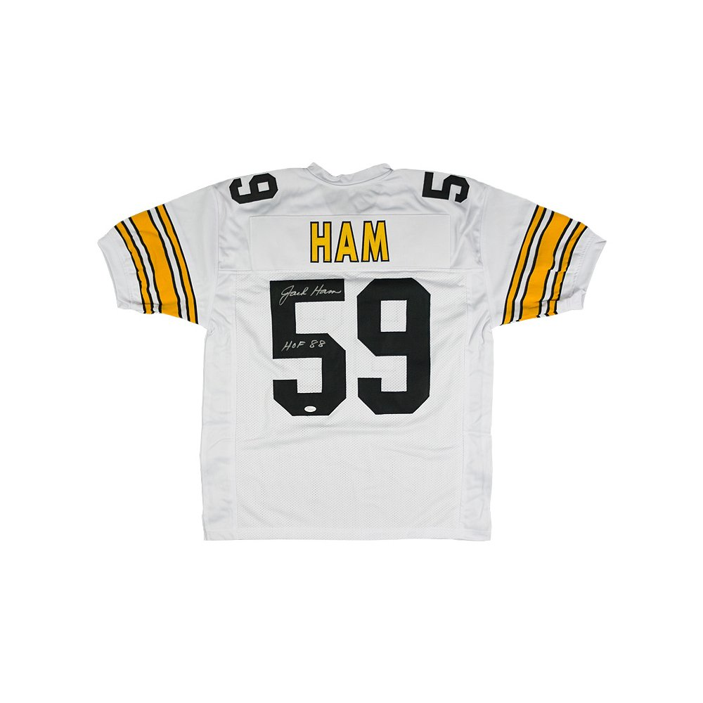 purchase cheap 08a39 7892d Jack Ham Autographed Pittsburgh Steelers Black Custom Jersey ...