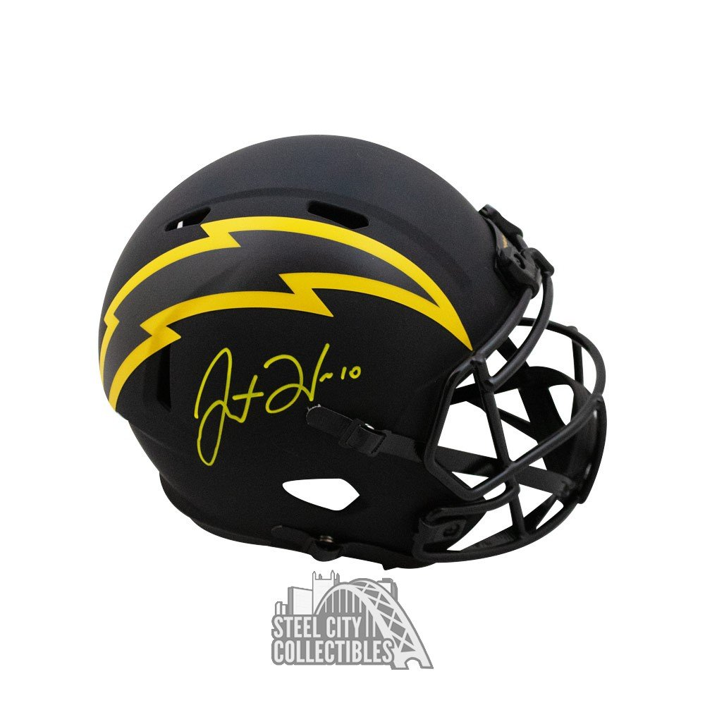 Justin Herbert Autographed Chargers Eclipse Replica Full Size Football Helmet Bas Coa Steel City Collectibles