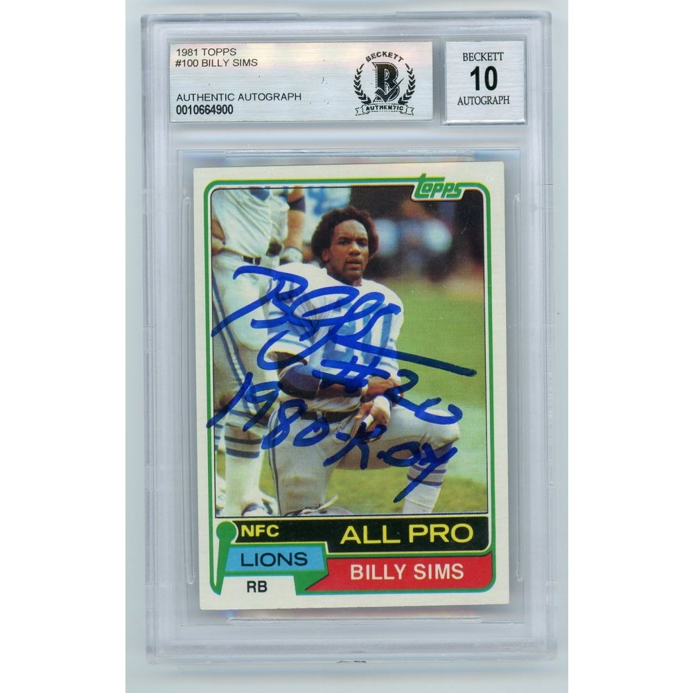 Billy Sims 1981 Topps Autographed Auto 1980 Roy Rookie Rc Card Bas 10