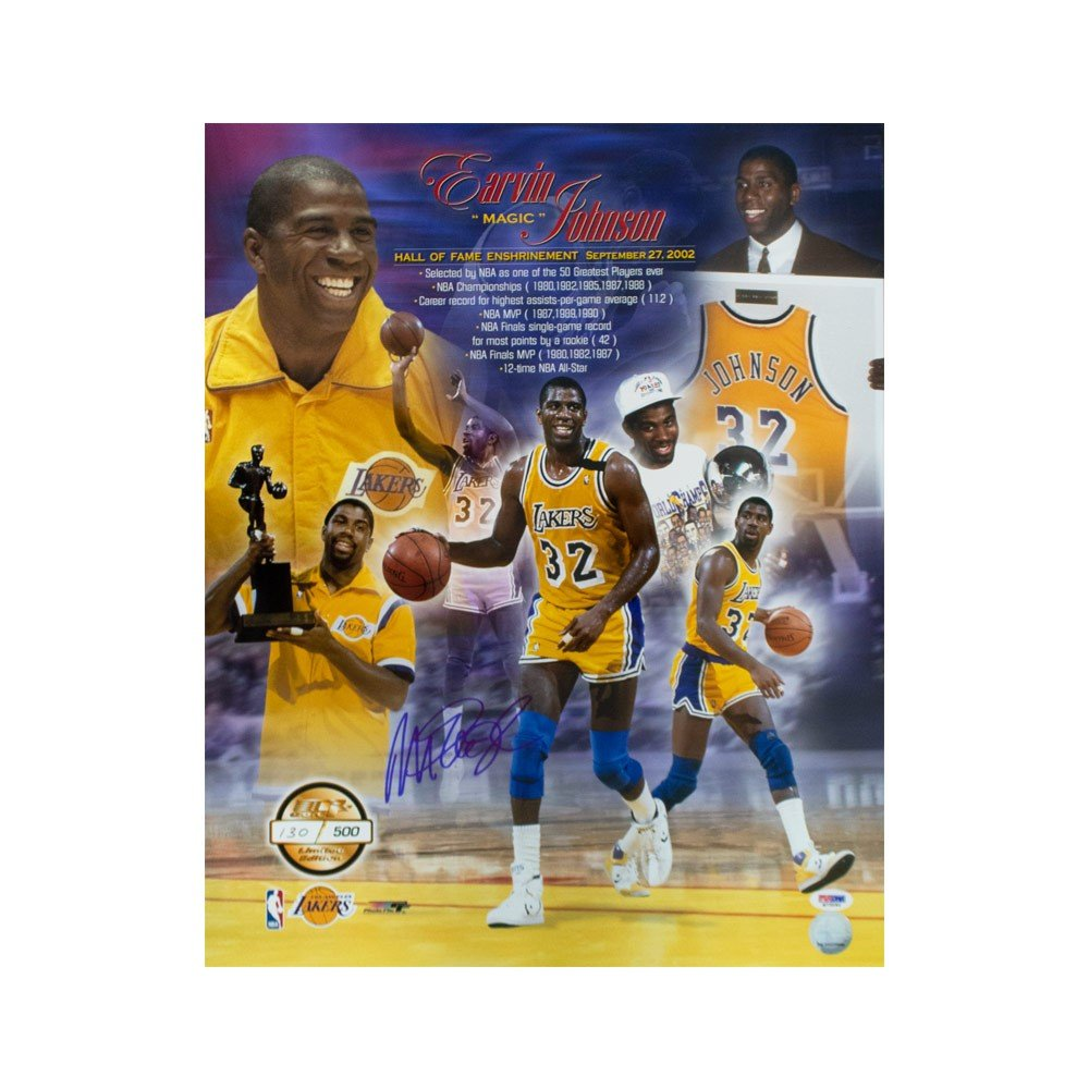 free shipping 7a5d9 e6dce Magic Johnson Autographed Los Angeles Lakers 16x20 Photo - PSA/DNA COA
