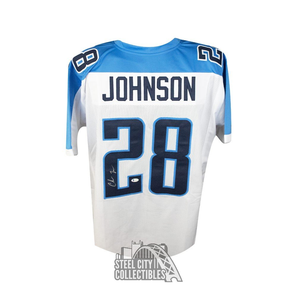 Chris Johnson Autographed Tennessee Titans Custom White Football Jersey Bas Coa Steel City Collectibles