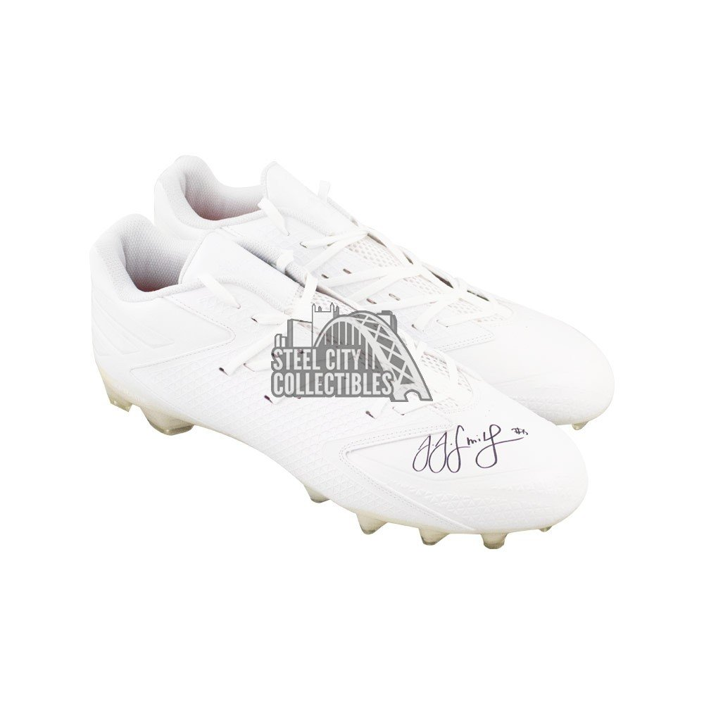 JuJu Smith Schuster Autographed Adidas White Football Cleats