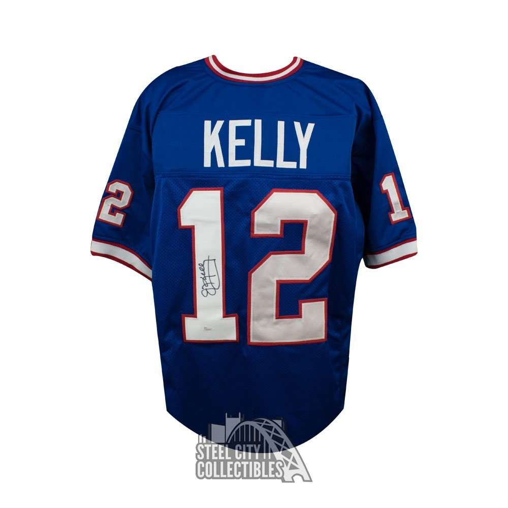 76e79e25b00 Jim Kelly Autographed Buffalo Bills Custom Blue Football Jersey - JSA COA |  Steel City Collectibles