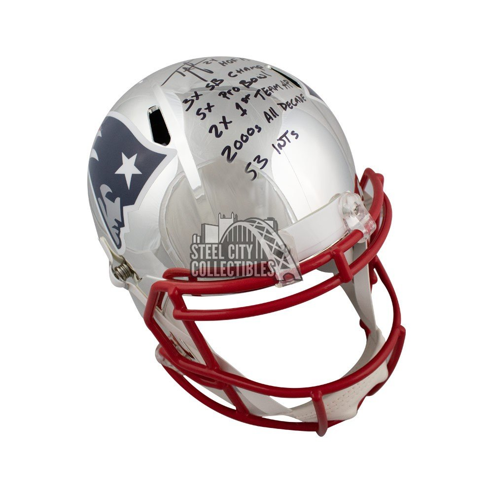 1ed3582e Ty Law Autographed New England Patriots Chrome Full-Size Helmet - BAS 6  Inscrip | Steel City Collectibles